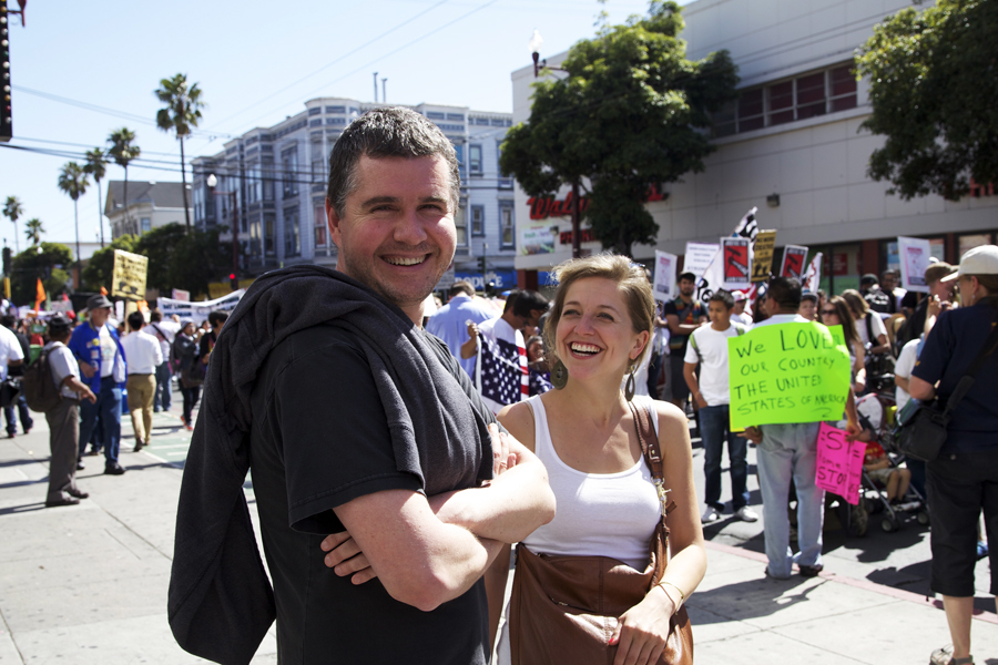 Iñaki Fernandez de Retana, Managing Editor, and Gabriela Sierra Alonso, Editor-in-Chief, at a May Day 2013 Rally on Mission Street. Photo Juan Pardo