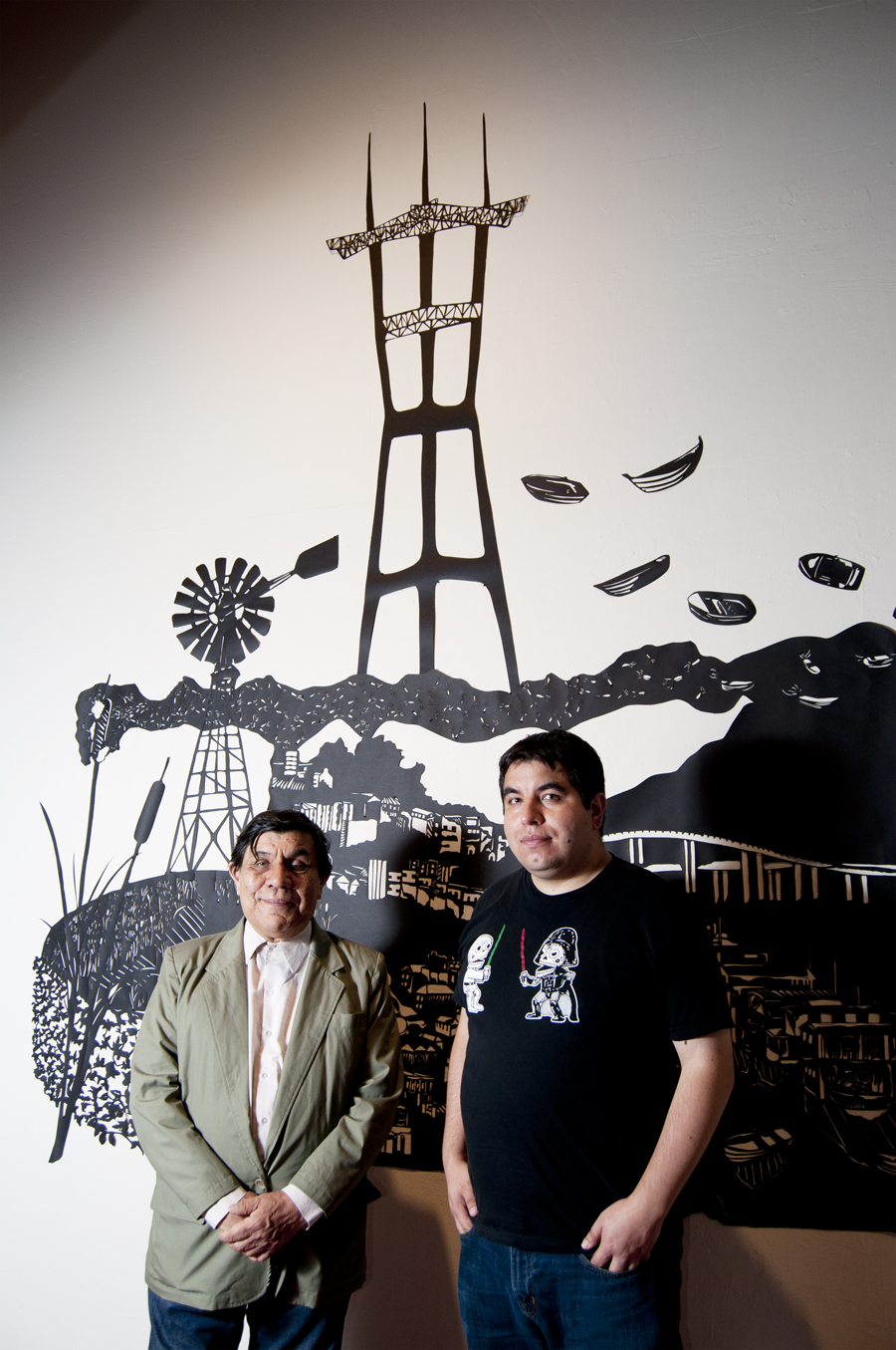 Rene (left) and Rio Yanez at the 2014 Day of the Dead exhibit. Photo Mabel Jimenez