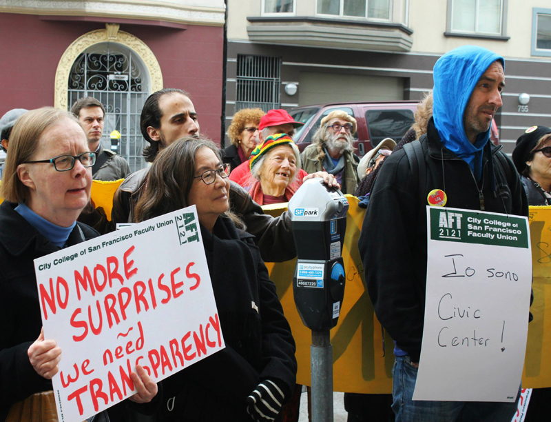 Students at CCSF Civic Center campus protest the abrupt relocation of hundreds of students on Jan. 16. Photo Chris Hanzo