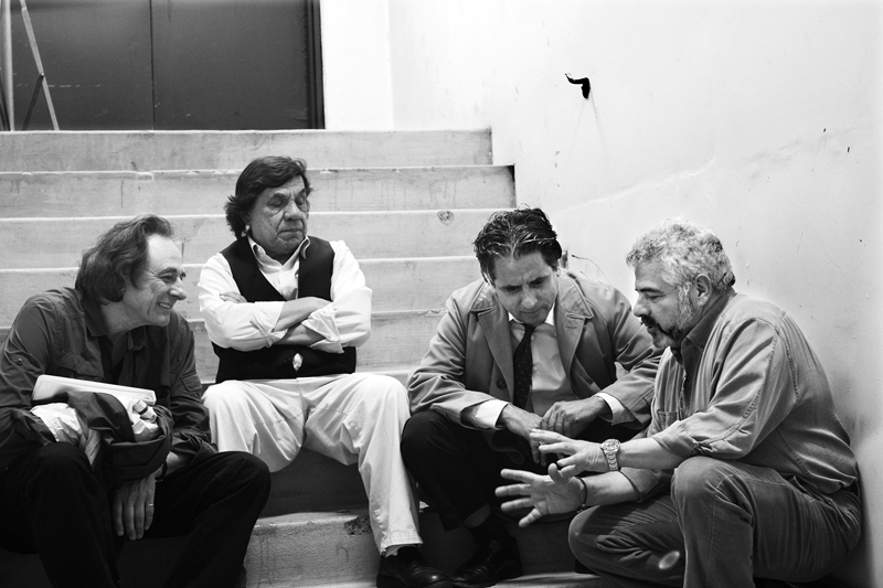 "(L-R) Producer Lou Dematteis, Production Designer Rene Yanez, lead actor Richard Montoya and Producer/Director Dante Betteo on the set of ""The Other Barrio"" at San Francisco General Hospital. Photo Mario Ayala"