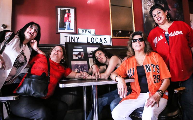 Miembros originales del grupo Tiny Locas, Monica Gonzalez, Cindy Illa, Irexa Vaca, Lucy Santiago y Patty Eng se reunen en Zoe's Bar & Restaurant para celebrar el cumpleaños 51 de Sandra Cuadra el 15 de febrero en San Francisco. Cuadra, líder de la comunidad e ícono de la Misión, murió de cáncer el 29 de octubre, 2013. Foto Joel Angel Juárez