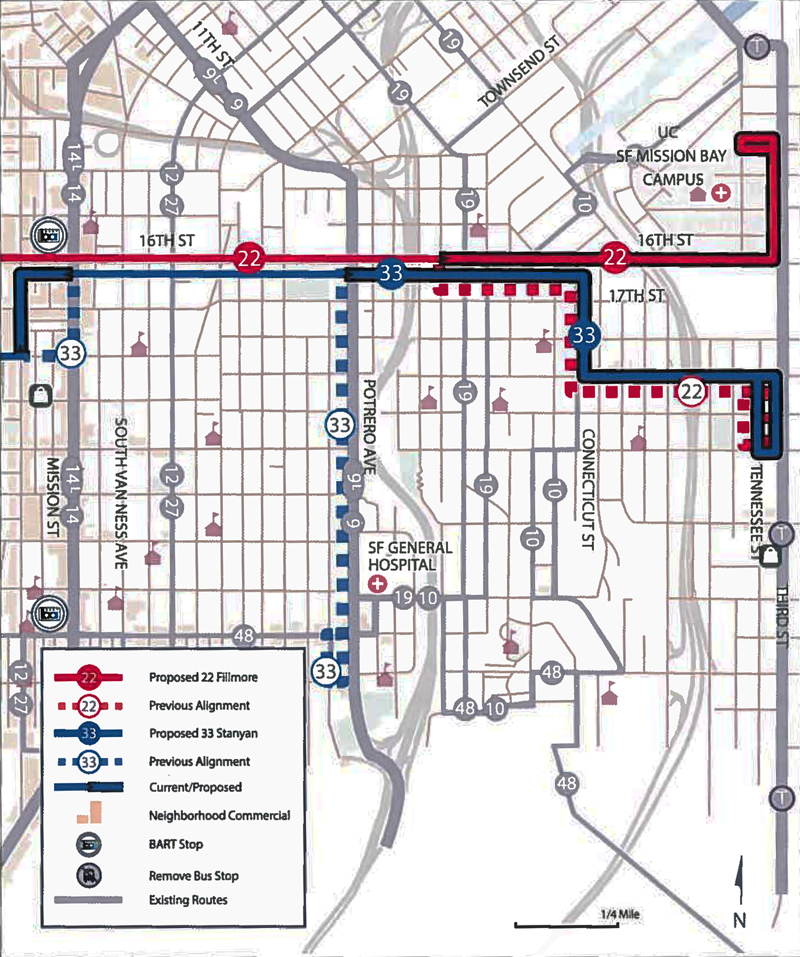 Proposed service changes to MUNI's 22 Fillmore and 33 Stanyan Routes. Courtesy SFMTA