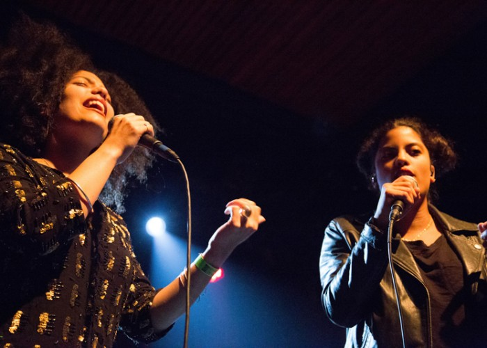 Ibeyi, the duo formed by Lisa-Kainde Díaz (left) and Naomi Díaz (right), perform at The Independent in San Francisco on Thursday, April 2. Photo Elisa Parrino