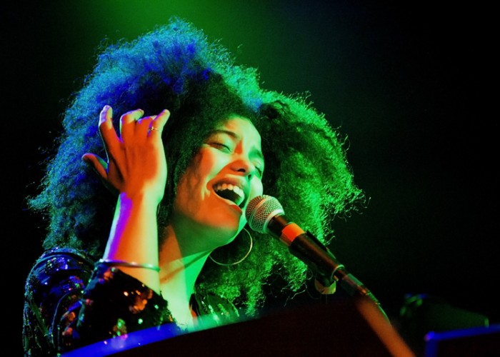 Lisa-Kainde Díaz sings during Ibeyi's performance at The Independent in San Francisco Thursday, April 2. Photo Elisa Parrino