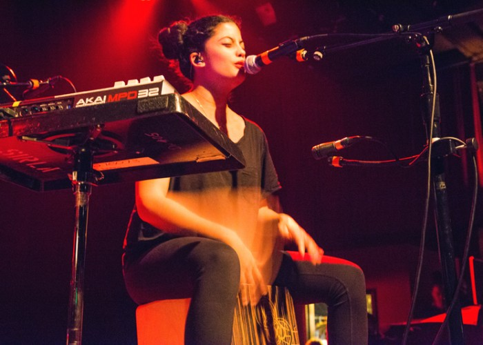 Naomi Díaz of Ibeyi sings and plays the cajón during Ibeyi's show at The Independent in San Francisco on Thursday, April 2. Photo Elisa Parrino