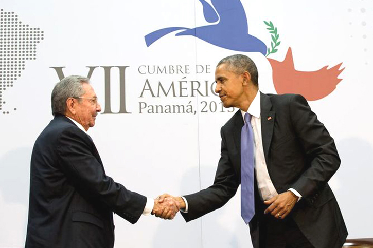 President Raúl Castro of Cuba and President Obama shake hands at the Summit of the Americas on April 11, 2015. Photo AP