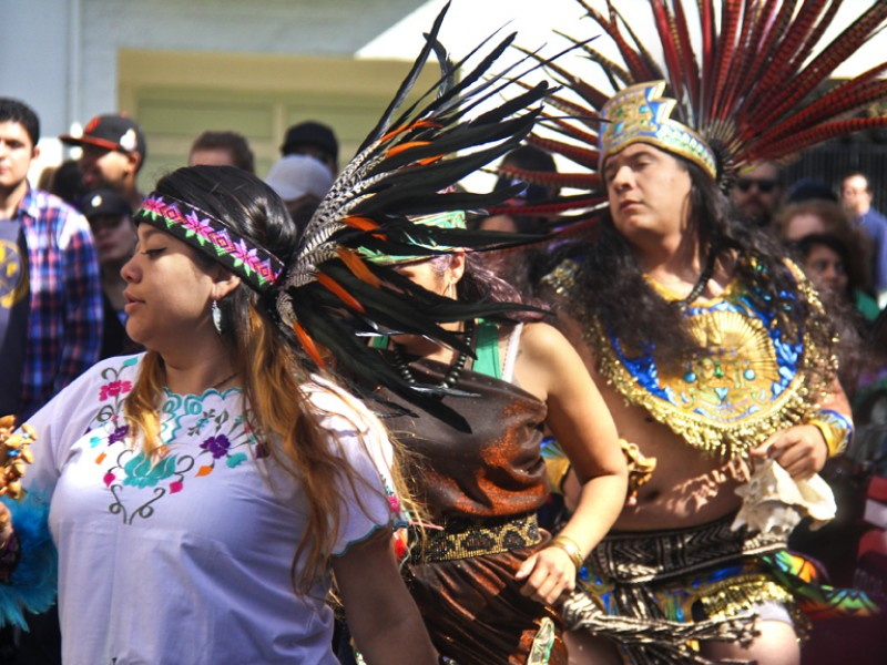 Aztec dancers perform a healing ceremony on April 18 before the start of the 10th annual Walk Against Rape in San Francisco. Photo Diana K. Arreola