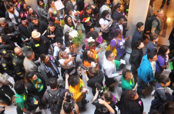 Community members flood City Hall on June 2 to support the proposed moratorium on luxury housing, which was ultimately voted down by the San Francisco Board of Directors. Photo Bridgid Skiba