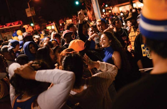 Revelers party in the Mission after the Warriors win the NBA title on June 16. Photo Beth LaBerge