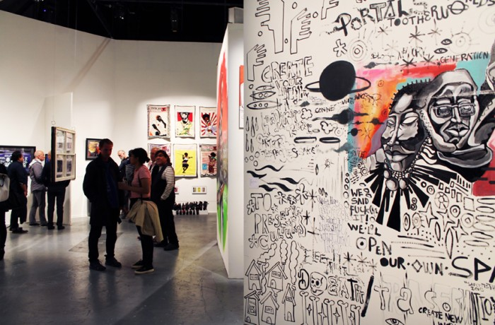"""Some of the work on display at SOMArts """"Making a Scene"""" exhibit, which runs through Aug. 20. Photo Mayra Lopez"""