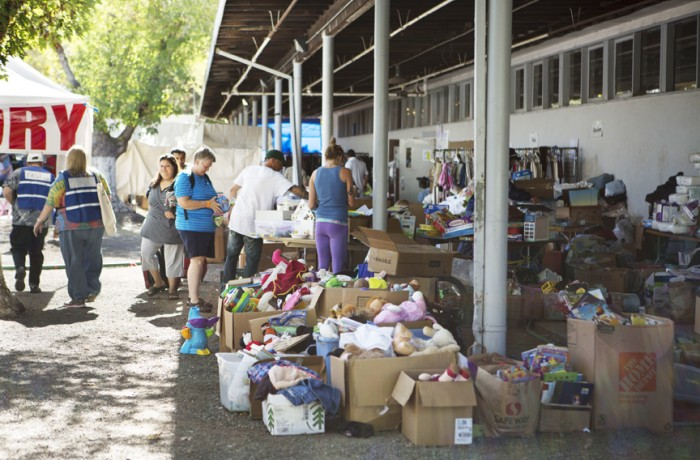 The evacuees were able to access the donations without having to register in the improvised shelter at Napa County Fair. Photo Manuel J. Obregozo