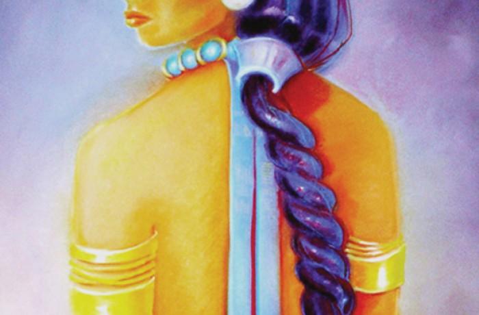 Título 'Facio Nova Omnia II: Indígena' (díptico, lado izquierdo) por Lorraine García-Nakata, 2005. Pastel en papel.