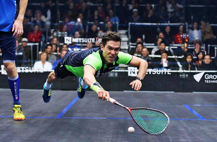 "Miguel Angel Rodriguez, the highest ranked South American ever to play squash, dives for the ball during his Sept. 26 match against Australian Cameron Pilley at the 2015 NetSuite Open Squash Championships in San Francisco. The No. 5 world rated Rodriguez, aka ""The Colombian Cannonball,"" defeated Pilley, but lost in the semifinals to England's Nick Matthew."
