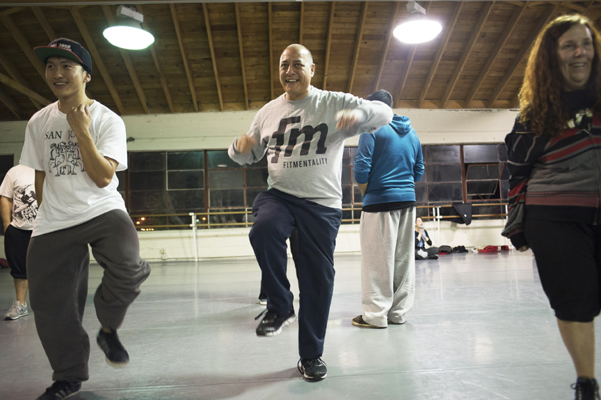 Samuel Tan, Sal Barcena (center), and Barbara Miron dance at City Dance Studios on Nov. 16, 2015. Photo Shane Menez