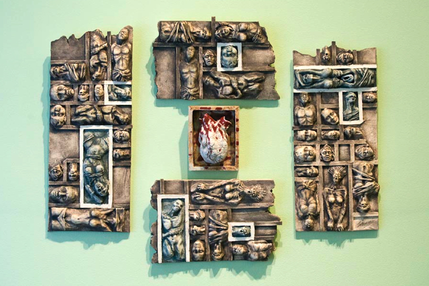 """Las Mujeres"" (sculpted ceramic wall piece stoneware and porcelain) by Jose Vasquez Xene"