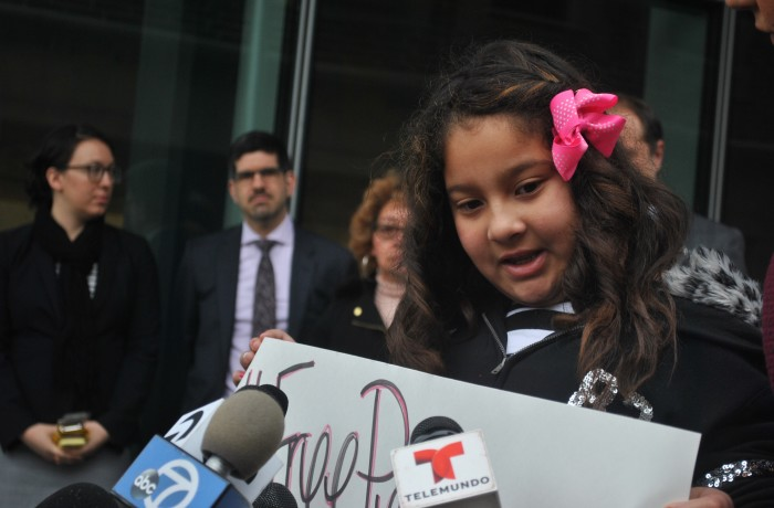 Pedro Figueroa's daughter Leilani Cortez addresses the media outside the SFPD headquarters on Jan. 20. Figueroa was detained by ICE agents last December outside SFPD headquarters after police informed him that his stolen car had been found. Photo Alejandro Galicia Diaz