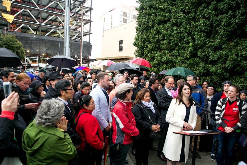 Hillary Ronen announces her candidacy for District 9 Supervisor during a press conference on Jan. 14 outside of Saint Luke's Hospital. Courtesy HillaryRonen.com
