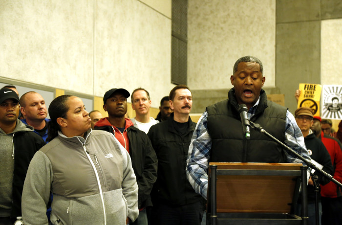 San Francisco police officer Shante Williams, who was on the scene of the shooting of Mario Woods and helped administer CPR to Woods, speaks during public comment at the San Francisco Police Commission meeting at the Salvation Army Kroc Center on Jan. 20 in San Francisco. Photo Emma Marie Chiang