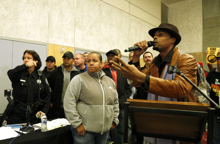 San Francisco rapper Sellassie Blackwell demands justice for Mario Woods and other black lives lost during public comment at the San Francisco Police Commission meeting at the Salvation Army Kroc Center on Jan. 20 in San Francisco. Photo Emma Marie Chiang