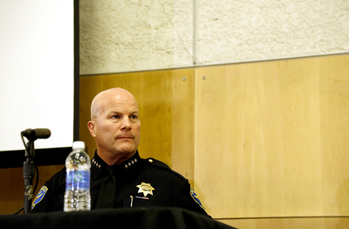 Police Chief Greg Suhr listens to protesters voice their concerns over the killing of Mario Woods during public comment at the San Francisco Police Commission meeting at the Salvation Army Kroc Center on Jan. 20 in San Francisco. Photo Emma Marie Chiang