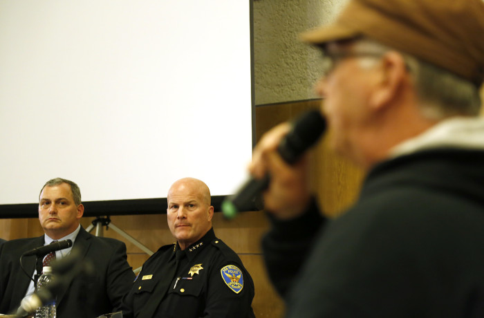 Supporter of the Justice 4 Mario Woods Coalition Joney Johnson speaks during public comment at the San Francisco Police Commission meeting at the Salvation Army Kroc Center on Jan. 20 in San Francisco. Photo Emma Marie Chiang