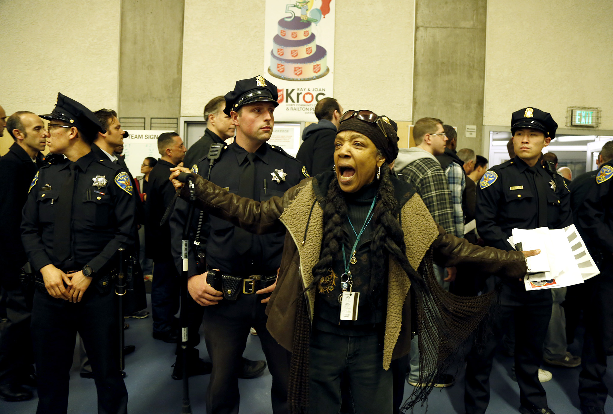 Sharen Hewitt demands justice for Mario Woods during public comment at the San Francisco Police Commission meeting at the Salvation Army Kroc Center on Jan. 20 in San Francisco. Photo Emma Marie Chiang