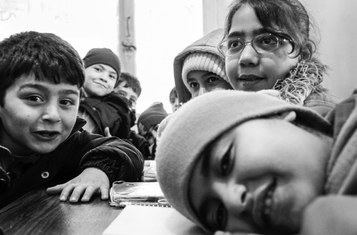 """Joyful curiosity"" Hatay, Turkey 2015. Syrian children greet me and my camera with joyful curiosity. Photo Amos Gregory"
