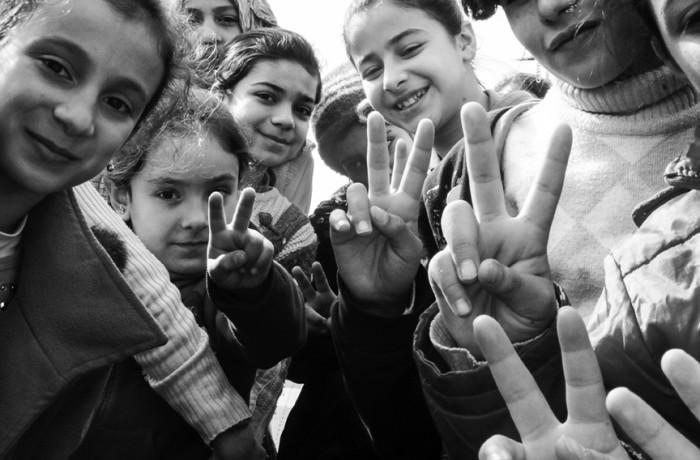 """Butterflies of Hatay."" Syrian school children. Photo Amos Gregory"