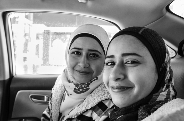 """""""Twin angels of mercy."""" Aid workers Sara and Soha who are twins. Photo Amos Gregory"""