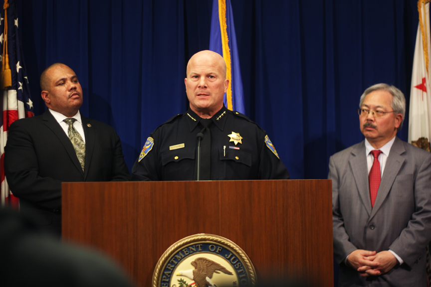 Police chief Greg Suhr (center) along with director of the Department of Justice's Office of Community Oriented Policing Services Ronald Davis (left) and Mayor Ed Lee (right) jointly announced a federal review of the practices of the SFPD on Feb. 1. Photo Alexis Terrazas
