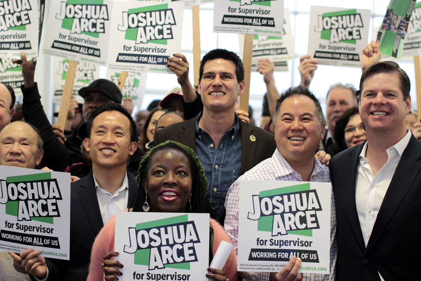 Supporters, including Assemblymember David Chiu (left) who came out to Josh Arce's (center) campaign kickoff event in San Francisco on Feb. 20. The civil rights attorney is running for District 9 Supervisor. Photo Brenna Cruz