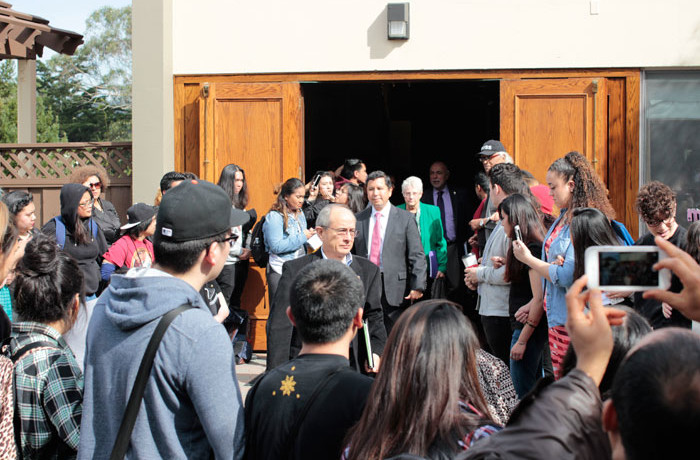 San Francisco State University President Wong exits the Seven Hills Conference Center after meeting with students upset about the proposed budget cuts to the Ethnic Studies department on Feb. 25, 2016.  Photo Brenna Cruz