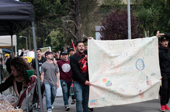 Students march through San Francisco State University in protest of the proposed budget cuts to the Ethnic Studies department on Feb. 25, 2016. Photo Brenna Cruz