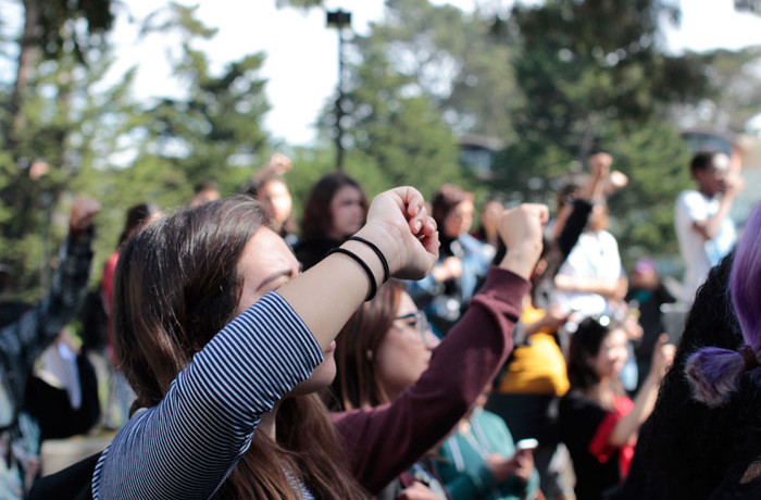 Students stand in solidarity with the Ethnic Studies department, which is facing proposed budget cuts at San Francisco State University on Feb. 25, 2016. Photo Brenna Cruz