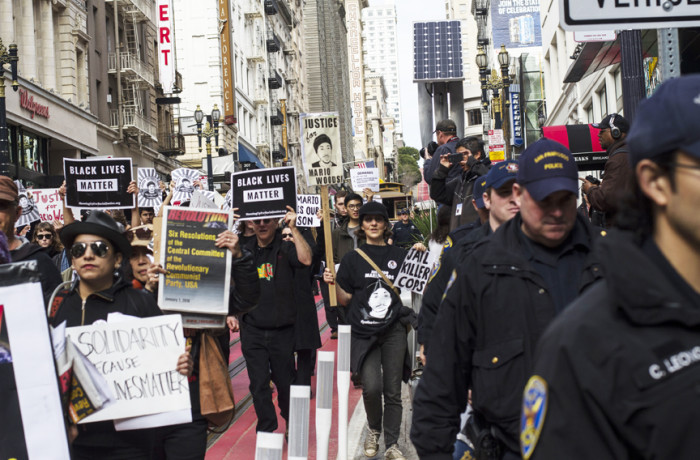 Protesters in San Francisco on Jan. 30 used the spotlight from the Super Bowl City festivities to continue calling for the resignation of SFPD Chief Greg Suhr, following the most recently fatal officer-involved shooting of Mario Woods. Photo Patricio Guillamon