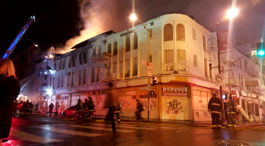 A second fire broke out in the building at 22nd and Mission streets on March 13. Photo Rodrigo Bedoya
