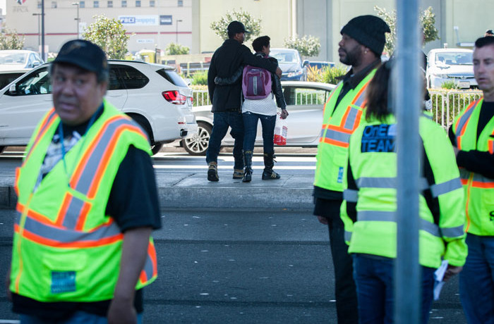 "Crews from the Department of Public Works ""clean up"" the homeless encampment along Division Street in San Francisco on March 1, after city officials declared the encampment a public nuisance. Photo Santiago Mejia."