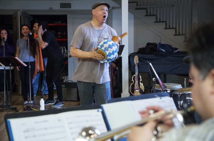 "Music composer and arranger John Calloway directs and rehearses with ""El Son de la Misión"" members on March 5, 2016 at the Mission Community Music Center. Photo Santiago Mejía"