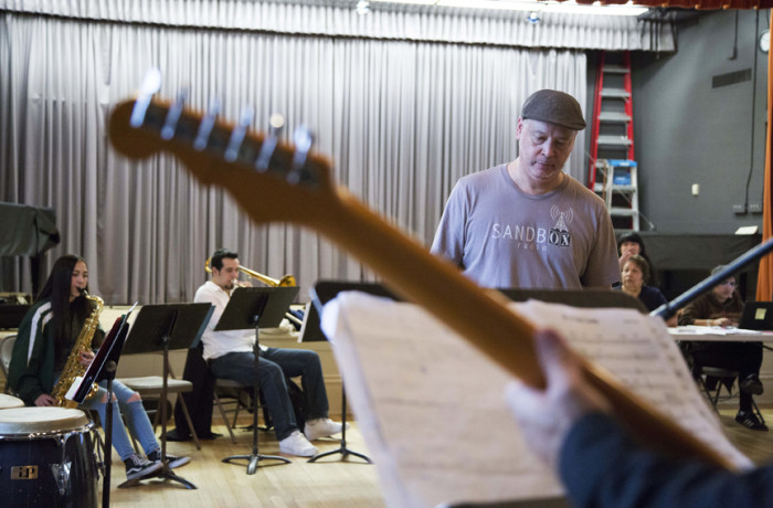 "Music composer and arranger John Calloway rehearses with ""El Son de la Mision"" members, Saturday, March 5, 2016, at the Mission Community Music Center. Photo Santiago Mejía"