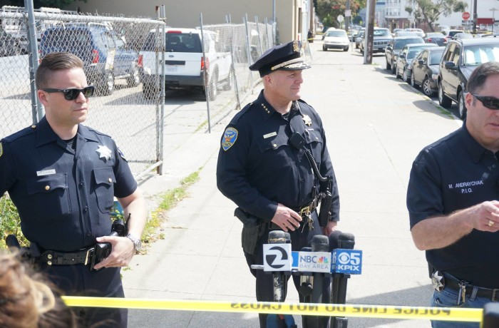 San Francisco Police Chief Greg Suhr addresses the media during a press conference at 19th and South Van Ness regarding officer involved shooting on the morning of April 7. Photo Amos Gregory