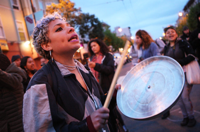 Michaela Taylor  occupies the intersection of Valencia and 17th streets after SFPD Captain Daniel Perea cancelled a monthly community meeting at the Mission Police Station during day six of a hunger strike. Photo Joel Angel Juárez
