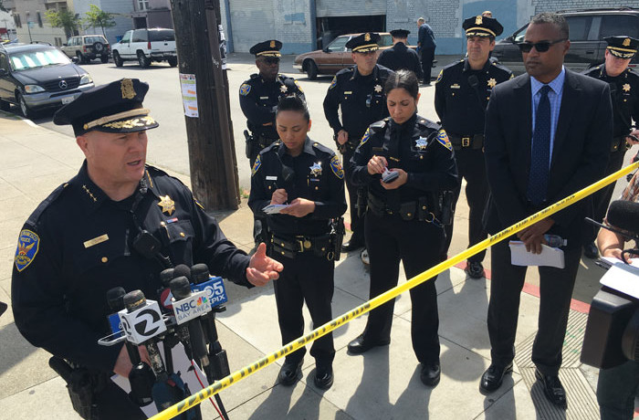 San Francisco Police Chief Greg Suhr speaks to members of the media during a press conference held on 19th Street and South Van Ness Avenue after a fatal officer-involved shooting of an adult Latin male earlier in the morning of Thursday April 7, 2016. Photo Joel Angel Juárez