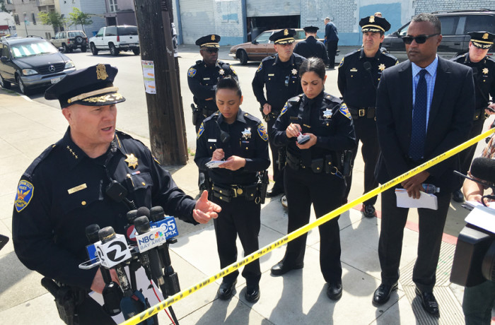 San Francisco Police Chief Greg Suhr speaks to members of the media during a press conference held on 19th Street and South Van Ness Avenue after a fatal officer-involved shooting of Luis Gongora on the morning of April 7. Photo Joel Angel Juárez