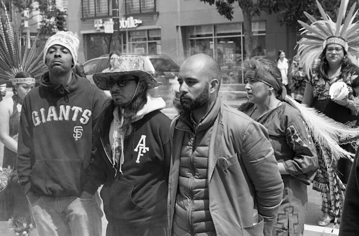 """Hunger strikers Sellassie Blackwell, Ilyich """"EQUIPTO"""" Sato and Edwin Lindo during day six of the strike demanding the resignation of SFPD Police Chief Greg Suhr. Photo John Morrison"""