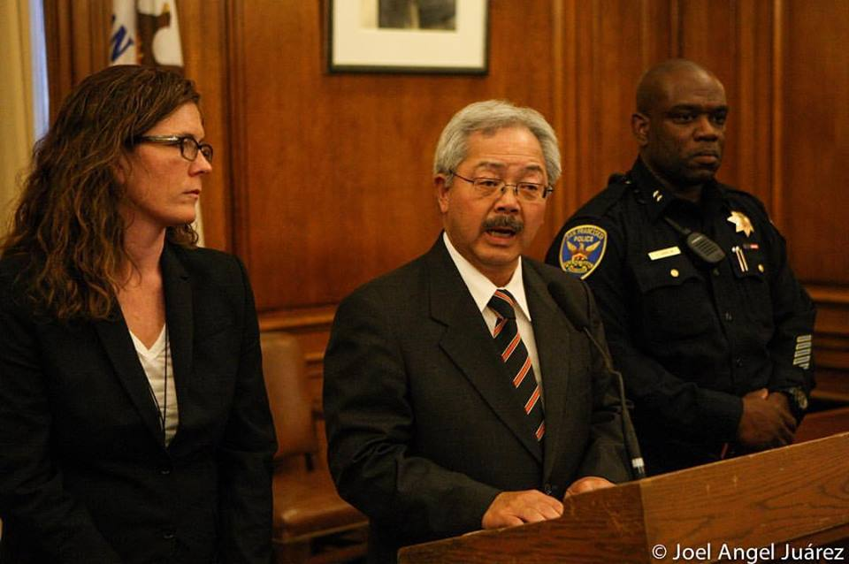Mayor Ed Lee (middle) announces the resignation of SFPD Police Chief Greg Suhr on May 19, following the fatal shooting of a 27-year-old woman by SFPD earlier that morning, as Police Commissioner Suzy Loftus (left) and SFPD Deputy Chief Toney Chaplin (right) stand by the mayor's side during a press conference in City Hall. SFPD Deputy Chief Chaplin will replace former Police Chief Suhr immediately. Photo Joel Angel Juárez