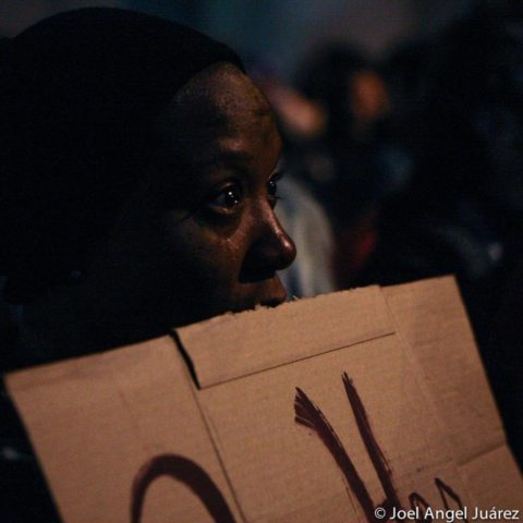 April Martin cries during a vigil held for a 27-year-old woman that was fatally shot by SFPD on May 19 in SanFrancisco. SFPD Police Chief Greg Suhr resigned later that afternoon following the fatal officer-involved shooting near San Francisco's Bayview district. Photo Joel Angel Juárez
