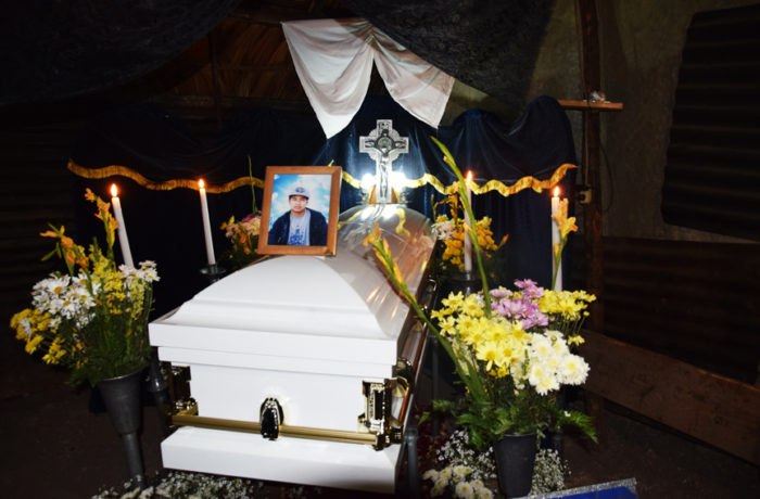 Amilcar's casket in his home town of San Jose la Arada, in the district of Chiquimula, Guatemala. Photo courtesy of the legal team for Perez-Lopez