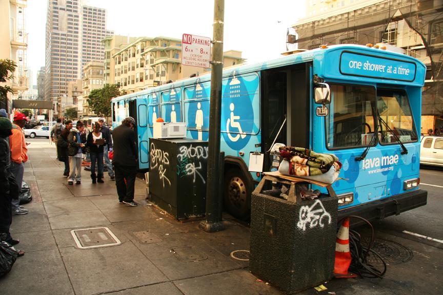 A Lava Mae bus serves the homeless in San Francisco's Tenderloin neighborhood. Photo Adrian Pintor