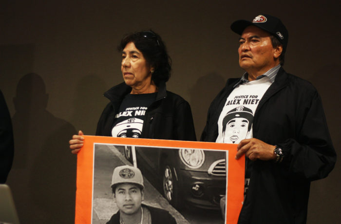 Refugio and Elvira Nieto, whose son Alejandro was fatally shot by SFPD in March 2014, attend a press conference on April  24, 2015, where attorney Arnoldo Casillas announced that a Federal Civil Rights lawsuit was being filed against SFPD for the shooting death of Amilcar Pérez-López. Photo Alexis Terrazas