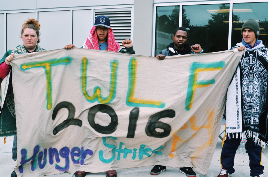 SF State's hunger strikers Julia Retzlaff, Sachiel Rosen, Hassani Bell and Ahkeel Mestayer, known as the